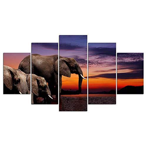 ZKLIB Decoración del hogar Pinturas sobre Lienzo Fotos 5 Paneles enormes Elefantes...