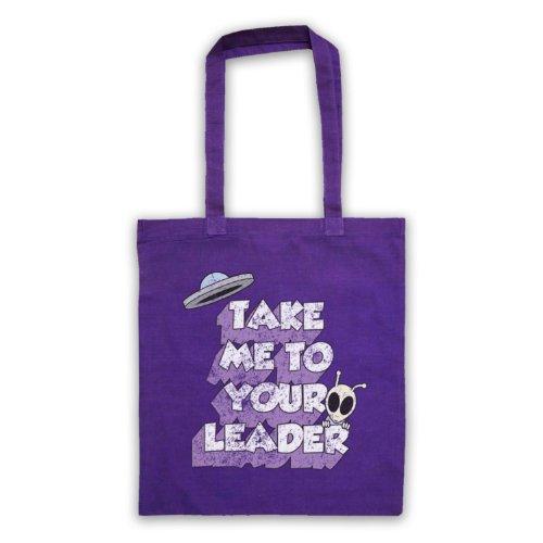 Take Me To Your Leader Funny Slogan-Borsa Sci Fi Viola