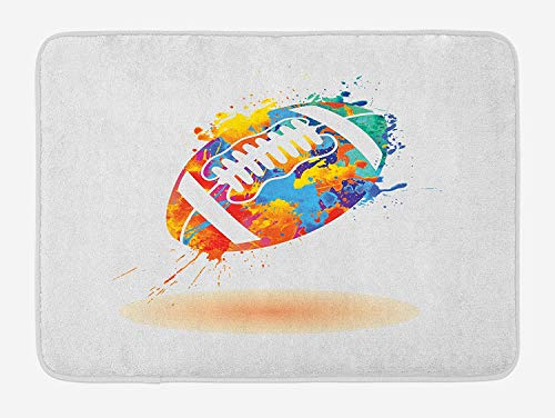 TKMSH Sports Bath Mat, Rugby Ball with Rainbow Brush Effects Filled Covered with Colors Sports Sign Leisure, Plush Bathroom Decor Mat with Non Slip Backing, Multicolor,19.6X31.4 inch/50 * 80cm -