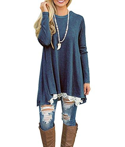 ose Tunika Top Bluse Casual Rundhals Shirt Langarm Oberteile Vorderer Saum mit Spitze(Blau XL) ()