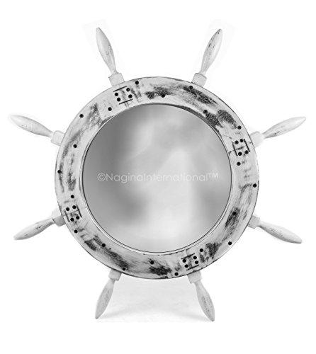 Rustic Grey Antique Nautical Maritime Wall Mounted Mirror Ship Wheel | Bay Home Decor & Gifts | Nagina International (36 Inches, Rustic White) -