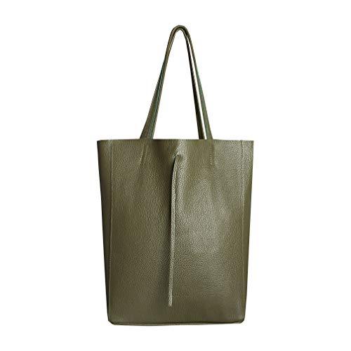 SKUTARI Original Vittoria Classic Shopper, Laptop- und Einkaufstasche aus echtem Leder mit extra langen Griffen und Reißverschlussinnentasche, handgefertigt in Italien | Grün, 36 x 38 x 13 cm -