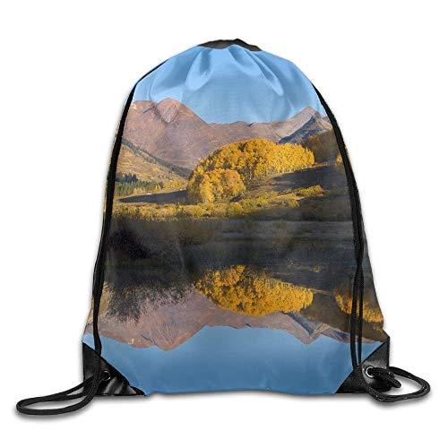 uykjuykj Tunnelzug Rucksäcke, Blue Oriental Chinese Dragon Basic Drawstring Backpack Workout Sackpack for Men Women School Travel Bag Colorado River Reflection Lightweight Unique 17x14 IN (Womens Adidas Dragon)