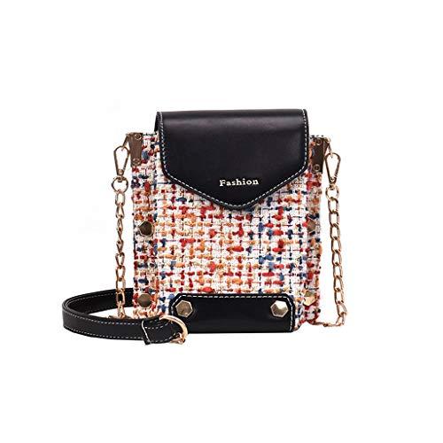 Lady Bag Charme (Canmerli Fashion Lady Retro Wollnähte Leder Schultertasche Eimer Tasche Diagonal Paket Kette Tasche Verschluss Schnalle Cmall Square Bag)