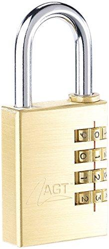 AGT Mini Zahlenschloss: Vorhänge-Schloss aus Messing mit 4-stelligem Zahlen-Code, 38 mm (Lock)