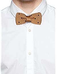 Tossido Knitted Brown Polka Dotted Bow Necktie (TBNK33)