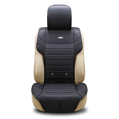 XINGWEI CAR Beheizte Autositzbezüge 12V, Lüftungserwärmung Und -kühlung Massagefunktion Autositz, Vier Jahreszeiten Universal Leder Einzelsitz,Black
