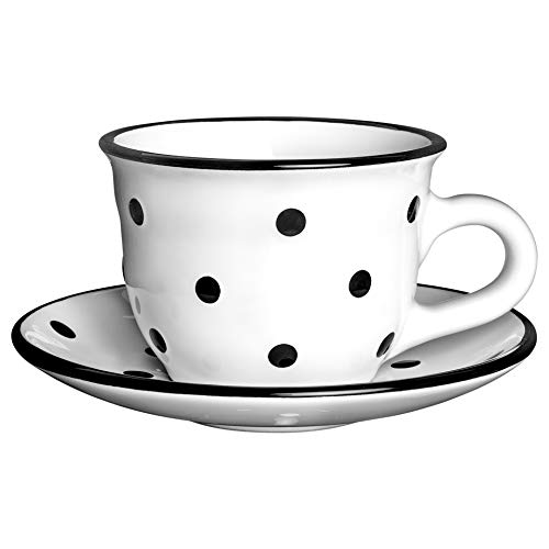 City to Cottage | Tasse et sous tasse à café, à thé | blanche à pois noirs en céramique faite et peinte à la main | 250ml