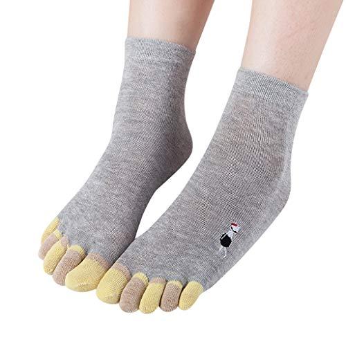 XuxMim Frauen drucken Katze Multicolor Zehensocken fünf Finger Socken Wärmer Baumwolle lustige Socken