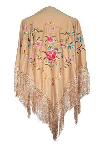 La Señorita Mantones bordados Flamenco Manton de Manila beige con flores