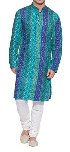 ShalinIndia Männer Baumwoll Lange Kurta Nehru Kragen 3 Taschen, M-CLK46-1006, Teal, (Kleid Teal Kostüm)