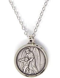 67943eb81cf3 Bañado en plata medalla de ángel de la guarda en caja de regalo redondo de 1