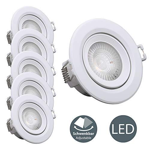 B.K.Licht - Set de 5 Focos LED giratorios para controlar la iluminación,...