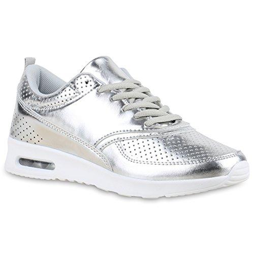 Damen Sport Runners Sneakers Lauf Fitness Trendfarben Sportliche Schnürer Schuhe 135847 Silber Metallic 40 | Flandell®