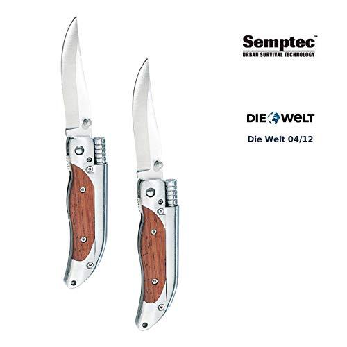 Semptec Urban Survival Technology Feuerstein: 2er-Set Taschenmesser mit 8-cm-Klinge und Magnesium-Feuerstab (Taschenmesser mit Feuerstein) (Klingen Feuerstein)