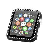 YUYOUG Coque Apple Watch Series 4 - Housse de Protection de Pare-Chocs de Cadre de Protection en Aluminium de Cristal de Sport pour Apple Watch Série 4 40mm/44mm (44mm, Black)