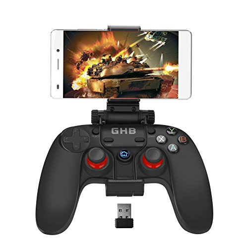 GHB Gamepad Wireless Controller Joystick Bluetooth con Dual Vibrazione Plug Play con Supporto per Android PC PS3 ecc - Nero