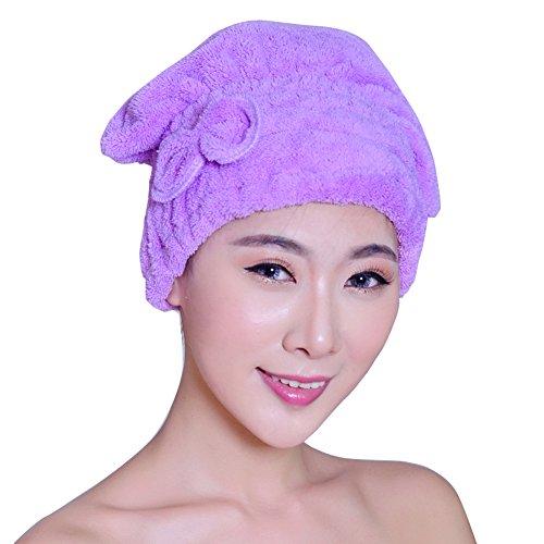 Damen Terry Headwrap Haarturban Mikrofaser Haar schnell trocknend Handtuch Bad Head Wrap Turban Quick Dry Hat Cap Violett Kleine Bun Shaper