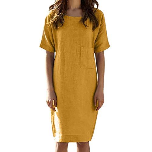 ommer tropischen Stil Volltonfarbe V-Ausschnitt Tasche beiläufige lose Hemdkleid Kurzarm T-Shirt Rock(Jaune, L) ()