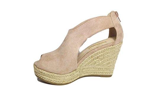 Sandalias de Cuña y Plataforma -Rosa (40)