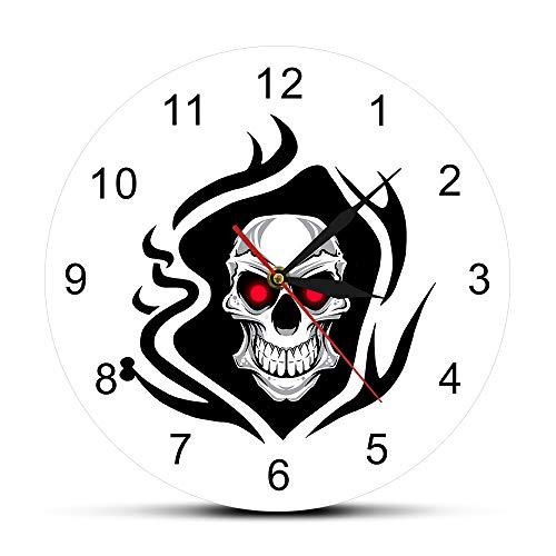 Nuanyang orologio da parete tatuaggio teschio rose death evil kill killer tattoo umano bodypart scheletro osseo vintage decorativo orologio da parete bianco può ben decorare home office