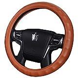 Weastion Couverture de volant de voiture en cuir véritable Poignée de voiture Poignée en cuir Four Seasons Modèles universels Poignée de cuir pour voiture (Color : Brown)