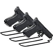 Boomstick Gun Accessories soporte estilo pistola pistola de Metal con revestimiento de vinilo de (Pack de 3), color negro