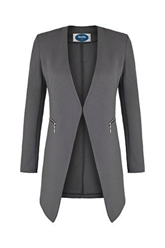 AO Long Blazer kragenlos mit Zipper grau Gr. M