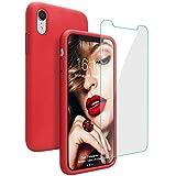 JASBON Hülle für iPhone XR, Silikon Handyhülle mit Kostenfreier Schutzfolie Schutz vor Stoßfest/Scratch Schutzhülle Bumper Case Cover für iPhone XR (6,1 Zoll) Rot