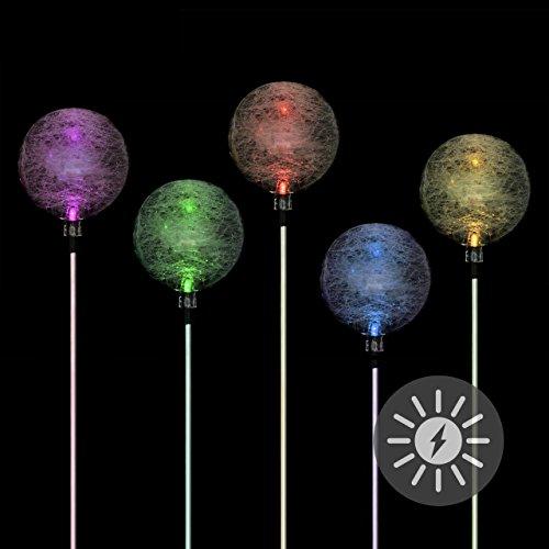 (Nexos Solarlampe Kugel 5er Set Gartenbeleuchtung LED Farbwechsel Akku Kunststoff Edelstahl Außenbeleuchtung 3farbig Solar Garten)
