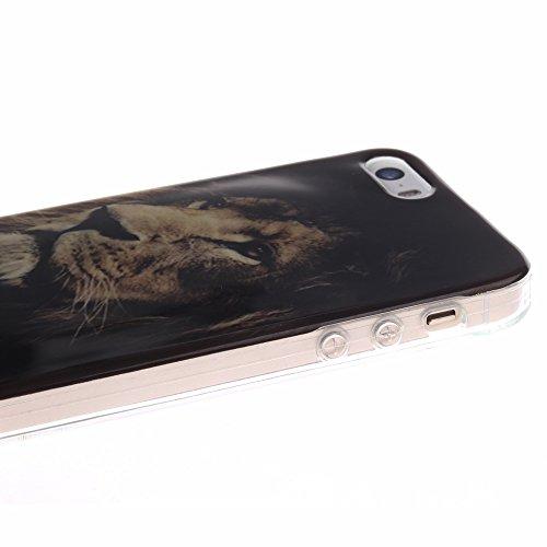 AllDo Coque iPhone SE Housse Protection Etui Souple Flexible Coque TPU Silicone Soft Case Cas Motif Original Housse Ultra Mince Etui Poids Léger Couverture Anti Rayure Coquille Anti Choc - Tigre Lion