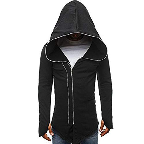 Amphia - Herren Vintage Gothic Mantel Kostüme Punk Hooded Pullover,Herren Herbst Winter Casual Reißverschluss Langarm Pullover Sweatshirt Hoodie Coat Top (Top Jacquard Knit)
