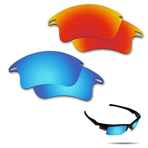 fiskr anti-saltwater Polarisierte Ersatz Gläser für Oakley Fast Jacket XL Sonnenbrille 2Paar verpackt, Fire Red & Ice Blue