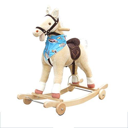 Qxmei bambino giocattolo cavallo di troia a dondolo in legno massello musica sedia a dondolo 2 in 1 regalo per bambini,beige