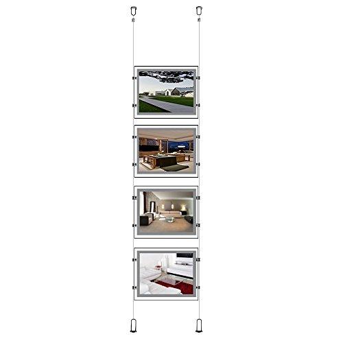 A4(Querformat) Kristall LED-Hintergrundbeleuchtung zum Aufhängen Fenster Schild Halter für eine Spalte (4Stück) -
