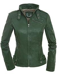 Magnifica Sportliche Damen Lederjacke Valery in dunklem Grün aus softem  Lammnappa Leder 38864ed425