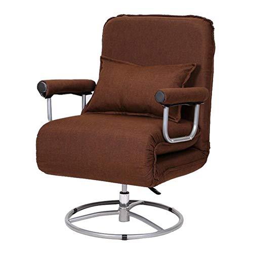 QIDI Chaise Pliante, Chaise Longue, Chaise d'ordinateur, Lit Pliant, Lit Invisible, Canapé-lit Siesta, Multifonction réglable en Hauteur à 360 degrés avec Une Rotation réglable (Couleur : Brown)