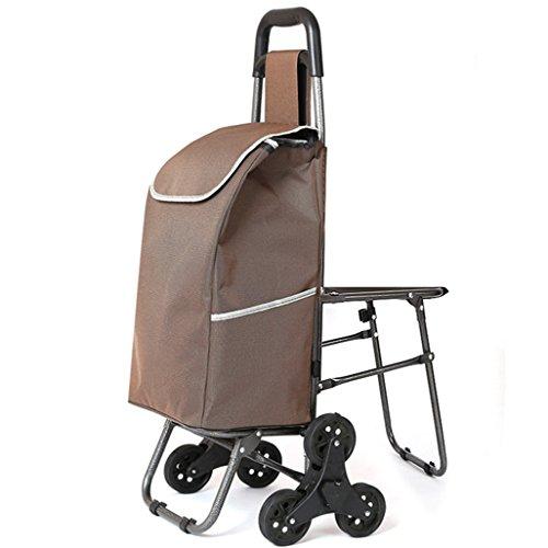 Leichter Treppensteigklappbarer Faltbarer Einkaufswagen | Einkaufskorb Koffergepäck 6 PU-Radgriff Zusammenklappbarer Push, Pull Carts mit Seat Oxford Cloth Einkaufstasche Large Capacity 40L in Brown