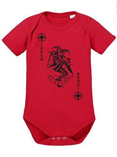Joker Kostüm Schwarz Rot Und - clothinx Baby Body Bio Karneval & Fasching Spielkarte Joker Kostüm Rot/Schwarz Größe 68