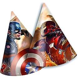 Gorros de fiesta diseño del Capitán América: Guerra Civil, 6unidades