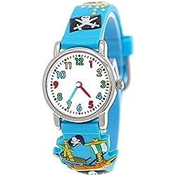 Pure time pirate wristwatch children watch children young girl boy silicone bracelet watch in light blue incl. watch box