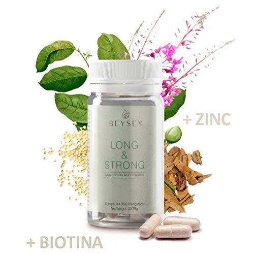 Suplemento natural: Vitaminas para el cabello con Biotina +B3 +B5 +B6 +Zinc +Aminoácidos. Crecimiento capilar/Anticaída. Vitaminas pelo sano y fuerte. LONG&STRONG de Beysey - 30 cápsulas