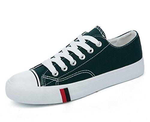 SHFANG Lady Shoes Confortevole Tempo libero Flat Bottom Canvas Studenti Scuola Daily Shopping Quattro colori Dark Green
