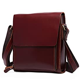 afbcb32cdae2 Leathario Men s Shoulder Cross Body Messenger School Office Bags Casual Retro  Leather Ipad Bag Red-Brown