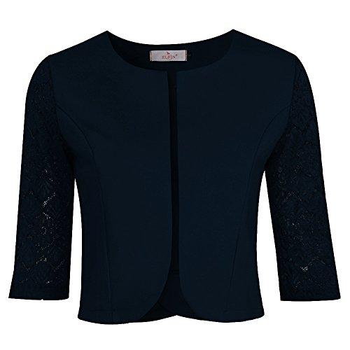 ELFIN Damen Eleganter Blazer festlich Kurz Bolero Jacke kragenlos Spitzen Jäckchen 3/4 Arm (Blaue Jacke Blazer)