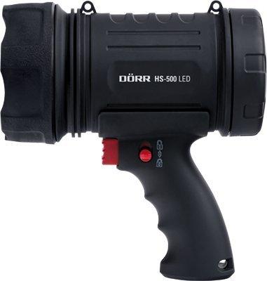 Dörr Handscheinwerfer HS-500 (Ultrahelle 10W LED, max. 500 Lumen, Reichweite bis zu 300 Meter), schwarz, Keine