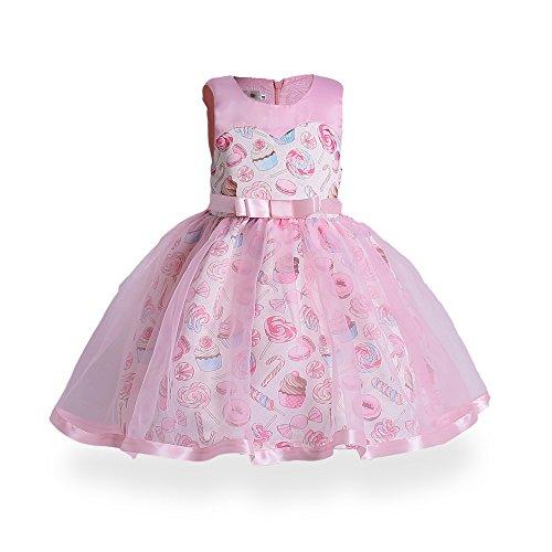GHTWJJ Mädchen Kleider Mädchen Ball Hochzeit Prinzessin Kleid Kleid Kinder Eis Print Tutu, Pettiskirt (Pink) ärmellos, Rose, 140 cm -