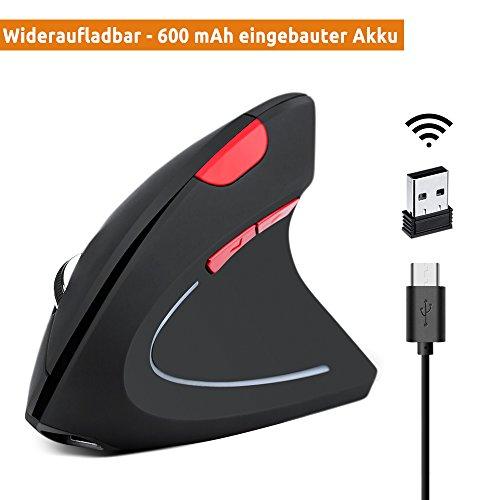 YIMALER Wiederaufladbare Vertikale Maus - 600 mAh Eingebaute Akku Ergonomische Optische Funkmaus mit Umschaltbar 3 DPI (800 1600 2400) Kabellos Vertical Mouse mit 5 Taste für Windows und OS (Schwarz) - Wiederaufladbare Bluetooth Laser Maus