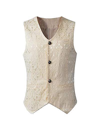 ste Steampunk Gothic Viktorianisch Vest Retro Kurz Oberteil Tops Anzugweste Kostüm Weiß L ()