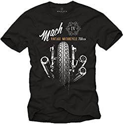MAKAYA Camisetas Moteras - Vintage Moto Mach 4 Hombre Negras L